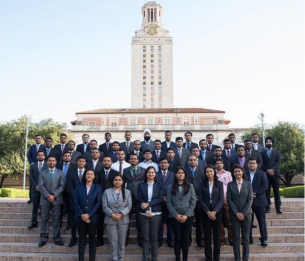 "A group from IIM Indore program, ""Advance Program In Analytics for Business Excellence,"" poses for a group photo in front of the UT Tower on August 23, 2017. Photo by Lauren Gerson DeLeon."