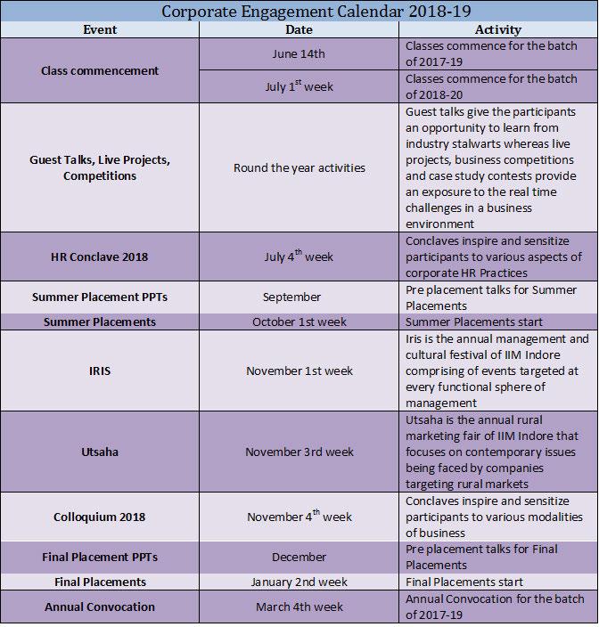Corporate Engagement Calendar